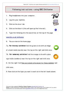 Following Instructions Using BBC Skillswise Worksheet