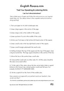 Following Verbal Directions Worksheet