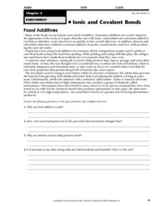 Food Additives Worksheet