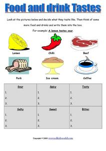 Food and Drink Tastes Worksheet