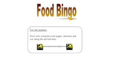 Food Bingo Lesson Plan