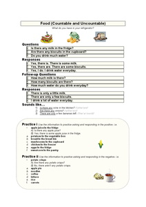 Food - Countable and Uncountable Worksheet
