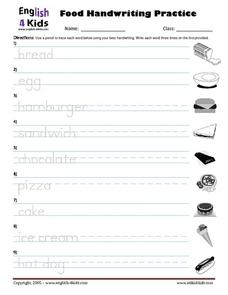 Food Handwriting Practice Worksheet