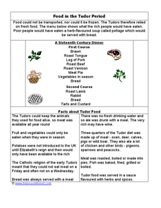Food In The Tudor Period Worksheet