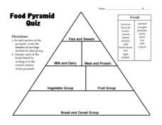 Food Pyramid Quiz Lesson Plan