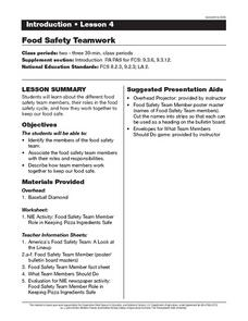 Food Safety Teamwork Lesson Plan