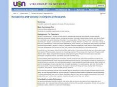 Food Science, Scientific Method: Reliability and Validity in Empirical Research Lesson Plan