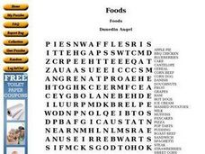 Foods Word Search Worksheet
