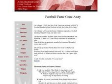 Football Fame Gone Awry Lesson Plan