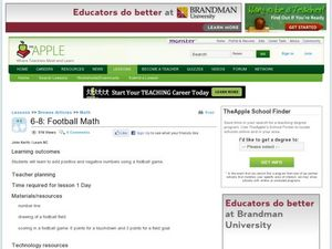 Football Math Lesson Plan