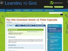 For The Common Good -- A Time Capsule Lesson Plan