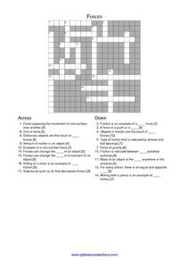 Forces Crossword Puzzle Worksheet