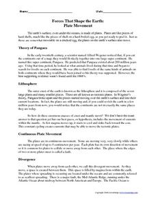 Forces That Shape the Earth: Plate Movement Worksheet