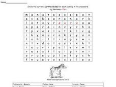 Foreign Currency Word Search Worksheet