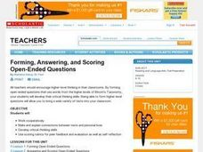 Forming, Answering, and Scoring Open Ended Questions Lesson Plan