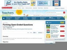 Forming Open-Ended Questions Lesson Plan