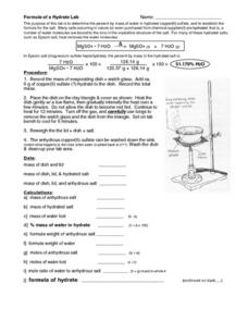Formula of a Hydrate Lab Worksheet