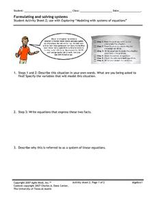Formulating and Solving Systems Worksheet