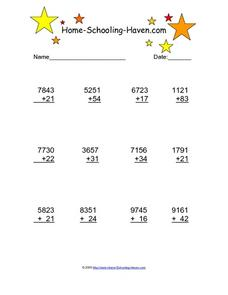 Four Digit Plus Two Digit Addition Worksheet