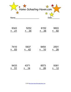 Four Digit Vertical Addition With No Regrouping Worksheet