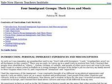 Four Immigrant Groups: Their Lives and Music Lesson Plan