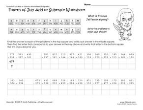 Fourth of July Add or Subtract Worksheets Worksheet