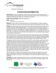 Fraction-Decimal Match Up Lesson Plan