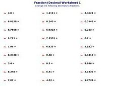 Fraction/Decimal Worksheet 1 Worksheet