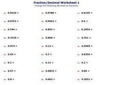 Fraction/ Decimal Worksheet 2 Worksheet