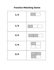Fraction Matching Game Worksheet