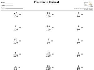 Fraction to Decimal Worksheet