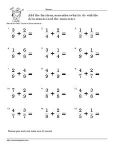 Fractions: Add with Common Denominators Worksheet