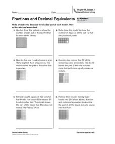 Fractions and Decimal Equivalents Worksheet