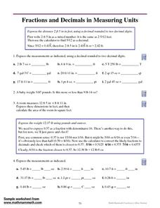 fractions and decimals in measuring units 4th 5th grade worksheet lesson planet. Black Bedroom Furniture Sets. Home Design Ideas