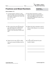 Fractions and Mixed Numbers Worksheet