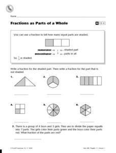 Fractions as Parts of a Whole Worksheet