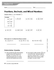 Fractions, Decimals, and Mixed Numbers Worksheet