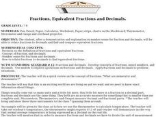 Fractions, Equivalent Fractions and Decimals Lesson Plan