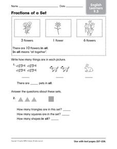 Fractions of a Set: English Learners Worksheet