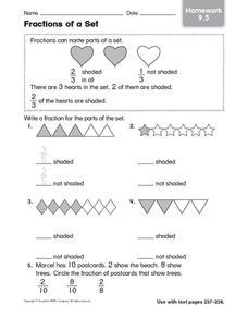 fractions of a set 1st 2nd grade worksheet lesson planet. Black Bedroom Furniture Sets. Home Design Ideas
