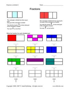 Fractions Worksheet 1 - Rectangles Worksheet