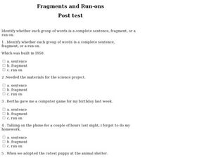 Fragments and Run-Ons Worksheet