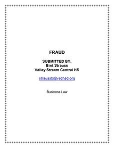 Fraud Lesson Plan
