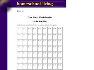 Free Math Worksheets: 1s-5s Addition Worksheet