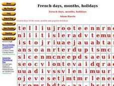 French Days, Months, & Holidays Worksheet