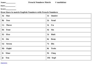 French Numbers Match Worksheet