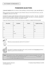 French Possessive Adjectives Lesson Plan