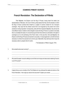 french revolution the declaration of pillnitz 10th 12th grade worksheet lesson planet. Black Bedroom Furniture Sets. Home Design Ideas