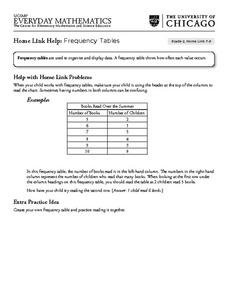 Frequency Tables - Home Link Support Lesson Plan