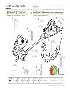 Friendly Fish Letter F Worksheet